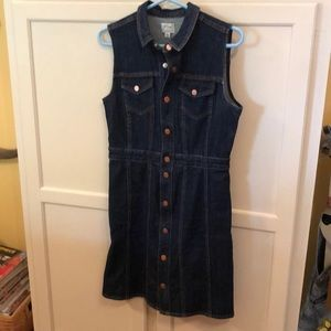 J.Crew Dark Wash Denim Snap Front Dress Size 6